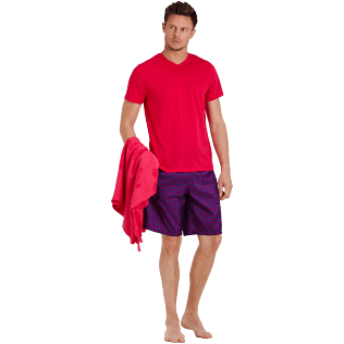 Men Others Solid - Men Mercerized Cotton T-Shirt V-neck Solid, Gooseberry red supp2