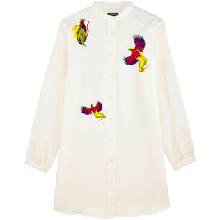 Women Shirts Embroidered - Women Stand-up collar Linen Shirt Embroidered Birds of Paradise, White front