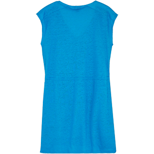 Donna Altri Unita - Vestito corto donna in jersey di lino tinta unita, Hawaii blue back