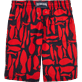 Men Long Printed - Silex Fishes Long Cut Swim shorts, Poppy red back