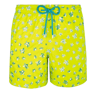Men Embroidered Embroidered - Men Swimtrunks Embroidered Micro ronde des tortues - Limited Edition, Chartreuse front