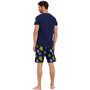 Men Others Printed - Men Cotton T-Shirt Tortues Multicolors, Navy backworn