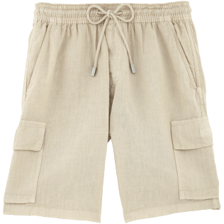 Men Shorts Solid - Solid Cargo linen bermuda shorts, Hemp front