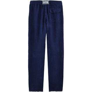 Men Pants Solid - Men Linen Pants Solid, Navy back