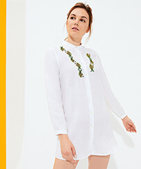 Women Others Embroidered - Women Linen Shirt Dress Sweet Fishes embroidery, White frontworn