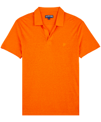 Men Others Solid - Men Linen Jersey Polo Shirt Solid, Apricot front