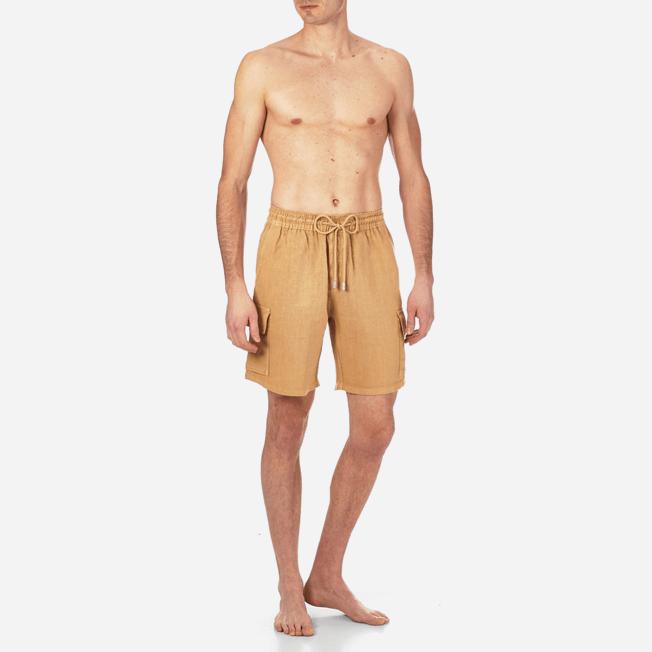 Vilebrequin - Bermudas lisas de lino con bolsillos de fuelle - 3