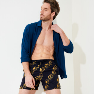 Men Classic Embroidered - Men Swim Trunks Embroidered Elephant Dance - Limited Edition, Navy supp2