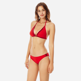 Women Classic brief Solid - Women midi brief bikini Bottom Tuxedo, Red polish frontworn