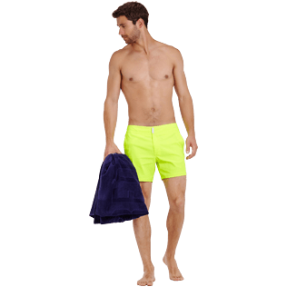 Men Flat belts Solid - Men Swimwear Short Flat Belt Stretch Prince de Galles, Neon yellow supp2