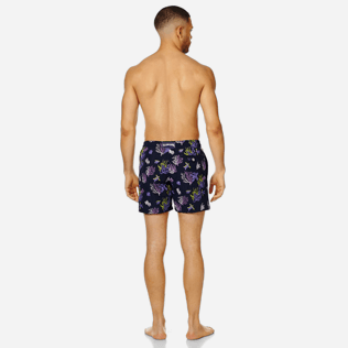 Men Embroidered Embroidered - Men Swimwear Embroidered Coral and Turtles - Limited Edition, Navy backworn