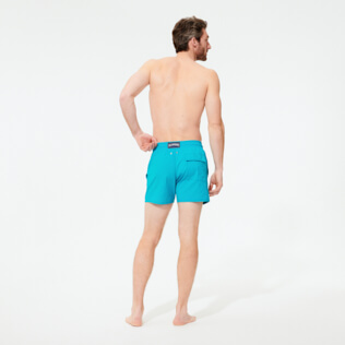 Men Stretch classic Solid - Men Swimwear Stretch Micro Ronde des Tortues, Light azure backworn