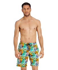 Men Long classic Printed - Men Swim Trunks Long Stretch Jungle, Midnight blue frontworn