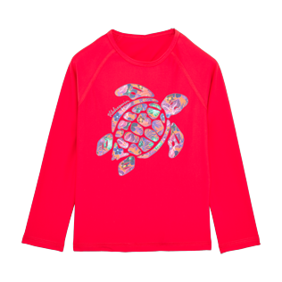 Others Printed - Kids Long Sleeves Rashguard Solid, Red polish front