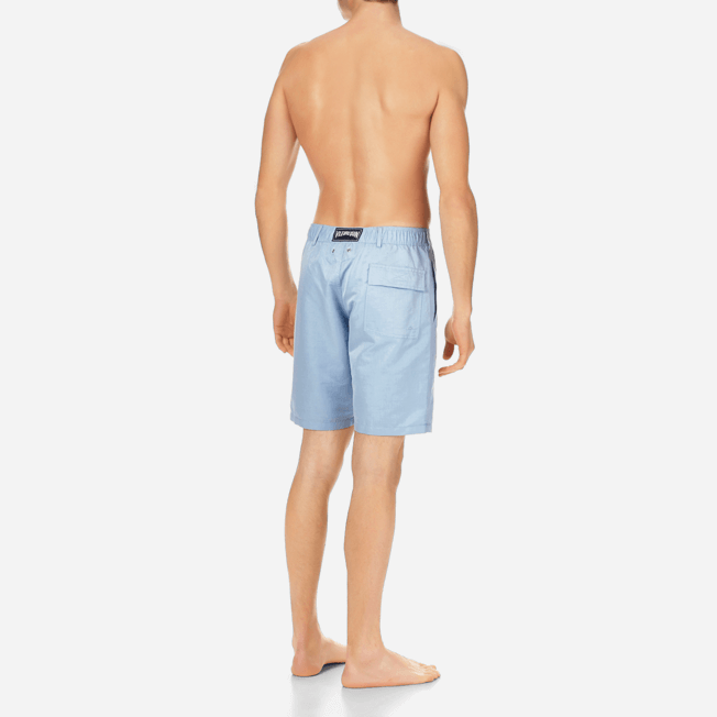 Vilebrequin - Men Straight Linen Cotton Bermuda Shorts Solid - 4