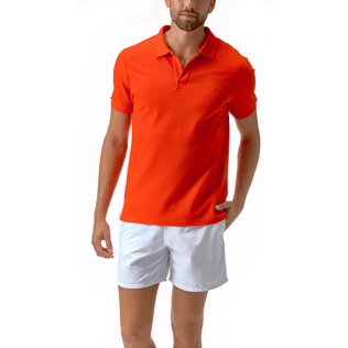 Men Polos Solid - Cotton pique polo, Poppy red frontworn