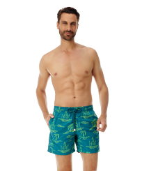 Men 017 Embroidered - Men Embroidered Swimwear St Tropez - Limited Edition, Pine wood frontworn
