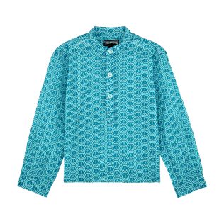Boys Others Printed - Boys Cotton Voile Shirt Ancre De Chine, Seychelles front