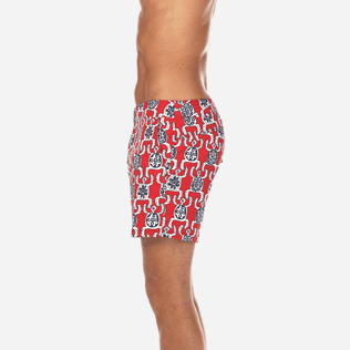 Men Fitted Printed - Primitive Turtles Superflex Fitted cut Swim shorts, Poppy red supp3