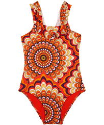Girls Others Printed - Girls One-piece swimsuit 1975 Rosaces, Apricot front