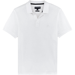 Men Others Solid - Men Cotton Pique Polo Shirt Solid, White front