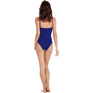 Women One piece Embroidered - Women Bustier One piece Swimsuit Hippocampes, Midnight blue backworn
