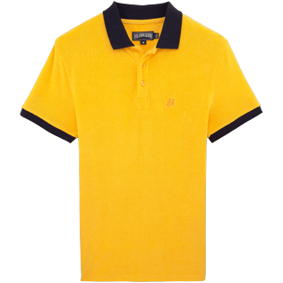 Men Others Solid - Contrasted Terry polo, Turmeric front