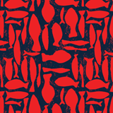 Men Classic / Moorea Printed - Silex Fishes Swim shorts, Poppy red pattern