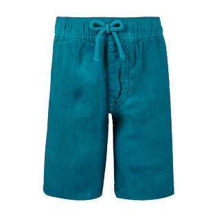 Boys Others Solid - Boys Linen Bermuda Shorts Solid, Pine wood front