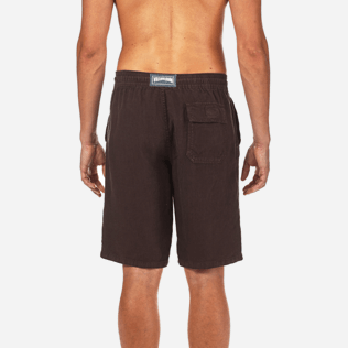Men Others Solid - Men Italian Pockets Linen Bermuda Shorts Solid, Chocolate supp2