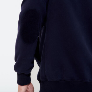 Men Others Solid - Men Cotton Front Zip Sweatshirt, Navy backworn