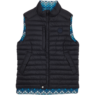 Others Printed - Unisex Sleeveless Down Jacket Herringbones Turtles, Navy front