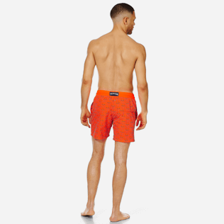 Men Ultra-light classique Printed - Men Swim Trunks Ultra-Light and Packable Ancre de Chine Fluo, Neon orange backworn