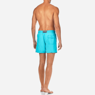 Men Classic / Moorea Embroidered - Natural Flower Placed Embroidery Swim shorts, Azure backworn