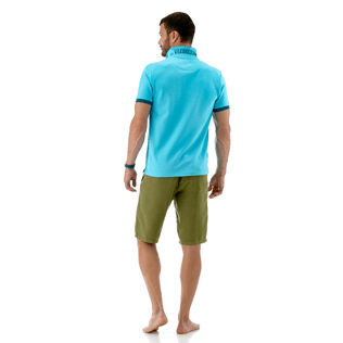 Men Polos Solid - Solid Cotton pique polo, Azure supp4
