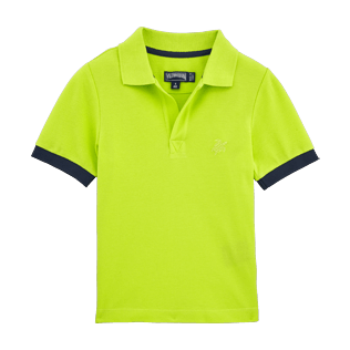Boys Polos Solid - Cotton pique polo, Lemongrass front