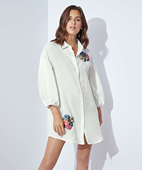 Women Others Solid - Women Linen Cover-up Solid, White frontworn