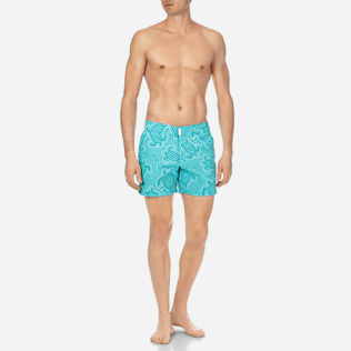 Men Flat belts Printed - Men Short and Fitted Stretch Swimwear Hypnotic Turtles, Curacao frontworn