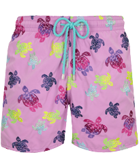 Hombre Clásico Bordado - Men Swimwear Embroidered Ronde des Tortues Aquarelle - Limited Edition, Pink berries front