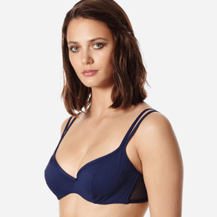 Women Underwire Solid - Women bikini Top with underwires Solid Net, Navy supp1