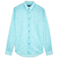 Shirts Printed - Unisex Cotton Voile Shirt Hypnotic Turtles, Lagoon front