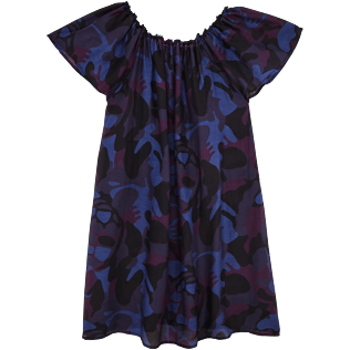 Women Others Printed - Camouflage Turtles Shoulder Game Dress, Plum front