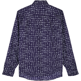 Others Printed - Unisex Cotton Voile Shirt Fortune Teller Turtles, Midnight blue back