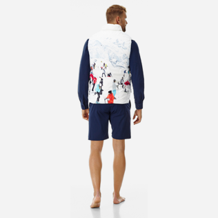 Others Printed - Unisex Reversible Sleeveless Down jacket Massimo Vitali, Sky blue backworn