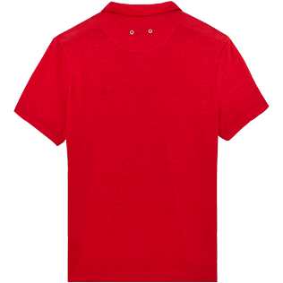 Men Others Solid - Men Linen Jersey Polo Shirt Solid, Red polish back