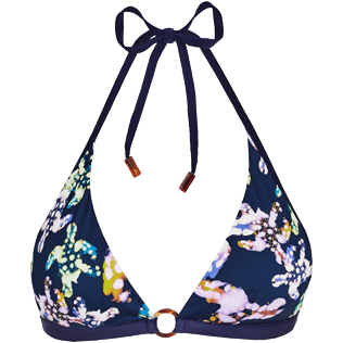Women Halter Printed - Women Bikini Halter Top Watercolor Turtles, Navy front