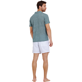 Men Others Solid - Men Linen Jersey Polo Shirt Solid, Heather green blue backworn