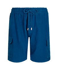 Men Others Solid - Men Cargo Linen Bermuda Shorts Solid, Goa front