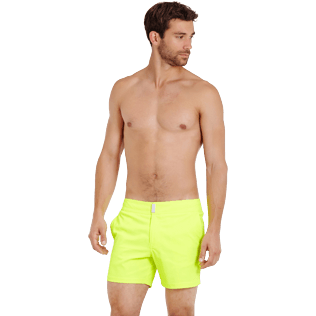 Men Flat belts Solid - Men Swimwear Short Flat Belt Stretch Prince de Galles, Neon yellow frontworn