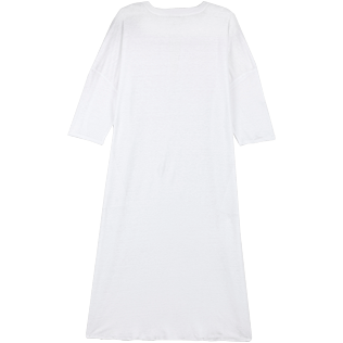 Women Others Solid - Women Long linen jersey Tunic Dress Solid, White back